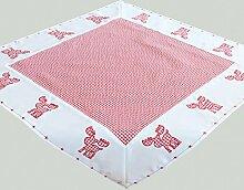 Tischdecke Weihnachten Vichy Karo rot weiß mit süßer Elch Applikation bestickt und Sterne Bordüre Mitteldecke 85x85 cm Typ292