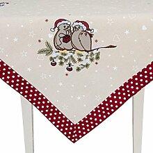 Tischdecke Weihnachten Vögel Punkte Dots rot natur 85*85
