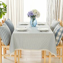 Tischdecke Weihnachtstischdecken Streifen Baumwolle Schlicht Einfach Tischdecke Tischdecke Tischdecke,LightBlue-110*160cm