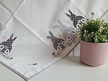 Tischdecke Weiß Grau Rosa Ostern 85x85 cm