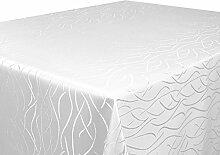 Tischdecke weiß Oval 160x220 in glanzvoller Streifenoptik, eckig - Größe, Farbe & Form wählbar (Rund Eckig Oval)