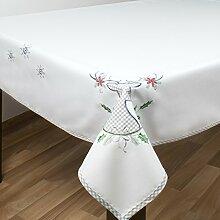 Tischdecke WINTER ELCH / weiß-ecru / 130x160 cm / moderne Tischdecke zu Weihnachten