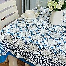 Tischdecken Bester Wert Pure Hand Häkeln Hohl Tapete Baumwoll Pastoral Tisch Couchtisch Abdeckung Tuch (Rose weiß) (Größe optional) Für jeden Tisch (größe : 140*140cm)