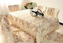 Tischdecken, Europäische Pastoraltisch Stoff Stuhl Abdeckung Kissen Set Kaffee Tisch Tuch Runde Tisch Spitze Esszimmer Stuhl Abdeckung Tischdecke Stuhl Sets Stoff , Hotel Tischdecke ( Farbe : B , größe : 8# )