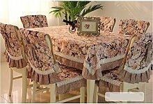 Tischdecken, Europäische Stil rechteckige Tischdecke Stuhl Kissenbezug Esszimmer Stuhl Abdeckung Tuch Tee Tischdecke Tischdecke Stuhl Set Pastoral , Hotel Tischdecke ( Farbe : A , größe : 1# )