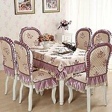 Tischdecken, Europäische Stil Tischdecke Esszimmer Stuhl Kissen Rechteckige Tischdecke Kaffee Tischdecke Tischfahne Europäischen Stoff Runde Tisch , Hotel Tischdecke ( Farbe : E , größe : 1# )