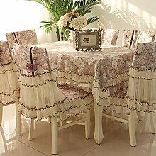 Tischdecken, Europäische Stil Tischdecke Stuhl Kissenbezug Spitze Stoff Stuhl-Sets Kaffee Tischdecke rechteckige Tischdecke einfache Pastoral , Hotel Tischdecke ( Farbe : D , größe : 6# )