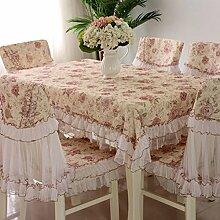 Tischdecken, Europäische Stil Tischdecke Stuhl Kissenbezug Spitze Stoff Stuhl-Sets Kaffee Tischdecke rechteckige Tischdecke einfache Pastoral , Hotel Tischdecke ( Farbe : B , größe : 1# )