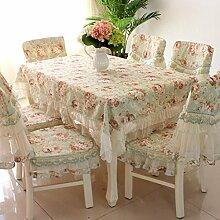 Tischdecken, European Style Tapete Spitze Pastoral Tabelle Tuch Stuhl Abdeckungs-Kissen-Set Tuch Tetabellentuch Rechteckige einfache moderne , Hotel Tischdecke ( Farbe : A , größe : 7# )