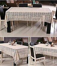 Tischdecken Handgefertigte Häkeln Baumwolle Hollow Ländlichen Umweltschutz Couchtisch Tuch Weiß und Beige , Beige , 130*180 cm
