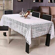 Tischdecken Handgefertigte Häkeln Baumwolle Hollow Ländlichen Umweltschutz Couchtisch Tuch Weiß und Beige , white , 130*180 cm