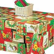 Tischdecken, mit Weihnachtsmotiv, Vinyl, mit 4 Tischtuchklammern, verschiedene Designs und Größen 2.0.m Christmas Time