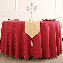 Tischdecken, Runde Tischdecke, Hotelrestaurant Haushalt, europäischer Stil Jacquard rot , Hotel Tischdecke ( Farbe : 2# , größe : 260cm )