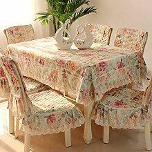 Tischdecken, Stuhl-Sets Tischdecke Spitze Europäische Pastoral Tischdecke Stuhl Abdeckung Kissen Esstisch Abdeckung Tuch , Hotel Tischdecke ( Farbe : B , größe : 4# )