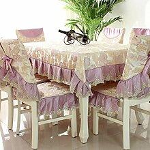 Tischdecken, Tischdecke Stuhl Abdeckung Kissen Couchtisch Stoff Spitze Stoff Esszimmer Stuhl umfasst Europäische Pastoral , Hotel Tischdecke ( Farbe : A , größe : 2# )