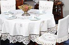 Tischdecken, Tischdecke Tee Pastoral Stickerei Runde Tischdecke Dinette Deckel Stuhl Sets Esszimmer Stuhl Abdeckung , Hotel Tischdecke ( größe : 16# )