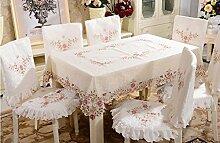 Tischdecken, Tuch Tischdecke Abdeckungen Stuhl Kissen Set Pastoral bestickt Tischdecke Tischdecke Tisch Tisch Stuhl Sets , Hotel Tischdecke ( Farbe : 4# )