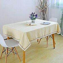 Tischdecken Weihnachtstischdecken Hanf Jacquard Champagner Tischdecke Kaffeetischdecke,Yellow-140*220cm