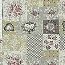 Tischdeckenstoff beschichtete Baumwolle Patchwork Rosen romantisch
