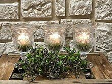 Tischdeko Tischdekoration Nr.56 Tischgesteck Kerzenleuchter aus Glas Weinglas mit Teelicht (8 Stunden Brenndauer ) und Kies in apfelgrün Sommer moderne Tischdeko Sommerdeko