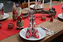 Tischdeko Weihnachten Dekoration mit Weihnachtsporzellanfiguren Weihnachtsdeko Weihnachtsgeschenk mit hochwertigen Servietten Weihnachten 40x40 Airlaid Textilähnlich