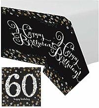 Tischdekoration 16x Servietten + 1x Tischdecke Dekoration Ergänzung 60 Geburtstag; gold schwarz silber Glitter 60 Happy Birthday