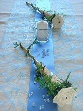 Tischdekoration für ca. 60 Pers. hellblau zur Hochzeit Tischdeko TD0029