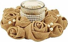 Tischdekoration/Kerzenständer mit Rose Jute und