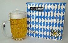 Tischdekoration Oktoberfest Set Servietten + Bierglas Kerze (Bayernraute)