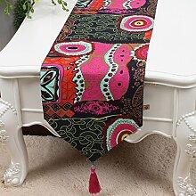 Tischfahne Retro-chinesisches Leinen-Tuch Doppel-Couchtisch Tischdecke-Streifen Tischdecke Bett-Flagge,A7