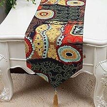 Tischfahne Retro-chinesisches Leinen-Tuch Doppel-Couchtisch Tischdecke-Streifen Tischdecke Bett-Flagge,A1