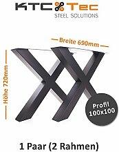 Tischgestell schwarz matt TUXsm-690 breit Tischuntergestell Tischkufe (1 Paar)