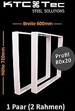 Tischgestell Stahl weiß TR80w Tischuntergestell Tischkufe Kufengestell Profil 80x20 mm Breite 600 mm - 1 Paar (2 Rahmen)