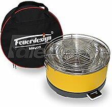 Tischgrill MAYON für Holzkohle - Rauchfrei - v. Feuerdesign - Gelb - mit Tasche und wiederaufladbaren Akku