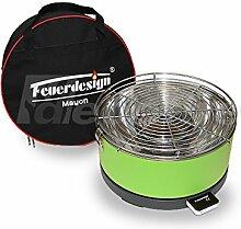 Tischgrill MAYON für Holzkohle - Rauchfrei - v. Feuerdesign - Grün - mit Tasche und wiederaufladbaren Akku