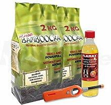 Tischgrill Starter-Pack - Grill-Zubehör-Set für rauchfreie Holzkohlegrills - Doppelpack Bambus-Holzkohle, Sicherheits-Brennpaste, Feuerzeug