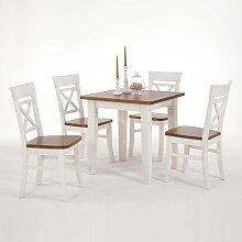 Tischgruppe aus Kiefer Massivholz Weiß-Braun