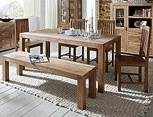Tischgruppe Bihar Akazie massiv stone Esszimmertisch Sitzbank 4x Holzstuhl Esszimmer Wohnzimmer Küche