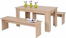 Tischgruppe Hamburg Eiche Sonoma Esstisch 2x Bank Länge nach Wahl Sitzbank Esszimmer Küche Wohnzimmer, Länge:160 cm