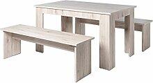 Tischgruppe Hamburg Esstisch 140x80 cm 2x Bank 140x45x37 cm Farbe nach Wahl Sitzbank Esszimmer Küche Wohnzimmer, Farbe:Sorrento Eiche Nb.