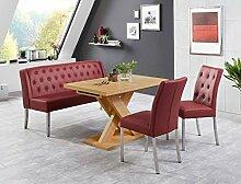 Tischgruppe Milan Honigeiche bordeaux Bank 2x Stuhl Säulentisch Esstisch Tisch Sitzgruppe Bankgruppe