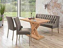 Tischgruppe Milan Honigeiche cappuccino Bank 2x Stuhl Säulentisch Esstisch Tisch Sitzgruppe Bankgruppe