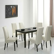Tischgruppe mit dunkelbraunem Tisch beige