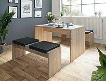 Tischgruppe Potsdam Esstisch 2x Bank Eiche Sonoma 4x Kissen schwarz Essgruppe Sitzbank Esszimmer Küche Wohnzimmer