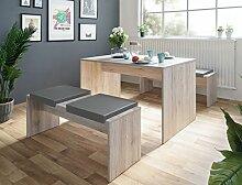 Tischgruppe Potsdam Esstisch 2x Bank Eiche Sorrento 4x Kissen grau Essgruppe Sitzbank Esszimmer Küche Wohnzimmer