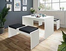 Tischgruppe Potsdam Esstisch 2x Bank weiß 4x Kissen schwarz Essgruppe Sitzbank Esszimmer Küche Wohnzimmer