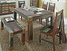 Tischgruppe Punjab Akazie Metall Esszimmertisch Sitzbank 4x Stuhl Esstisch Esszimmer Wohnzimmer Küche