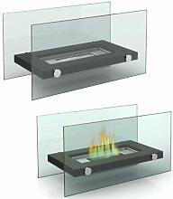 Tischkamin Kamin Glas und Stahl Feuerstelle