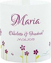 Tischkarte Windlicht Blumenwiese Rosa Pink mit Druck: Platzkärtchen, Tischkärtchen, Tischdeko für Hochzeit, Geburtstag, Taufe, Kommunion