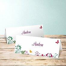 Tischkarten Beschriften, Sophias Garten 110 Karten, Horizontale Klappkarte 100x38, Ro